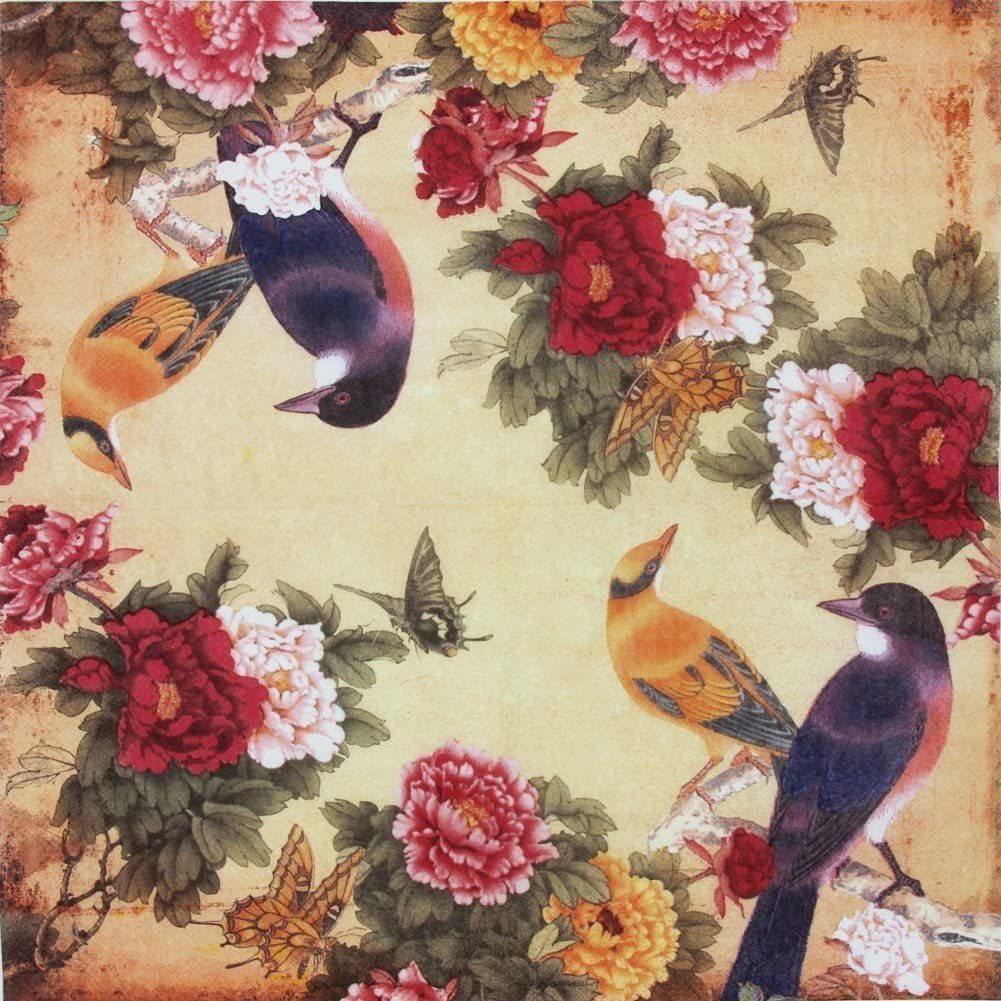 ALINK Paper Napkins Vintage Floral Pattern, Alink Printting Peony Birds Decorative Decoupage Dinner Tea Party Shower Serviettes, 20 Count