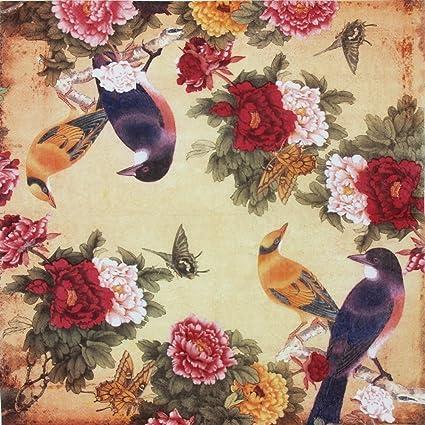 paper napkins vintage floral pattern alink printting peony birds decorative decoupage dinner tea party shower