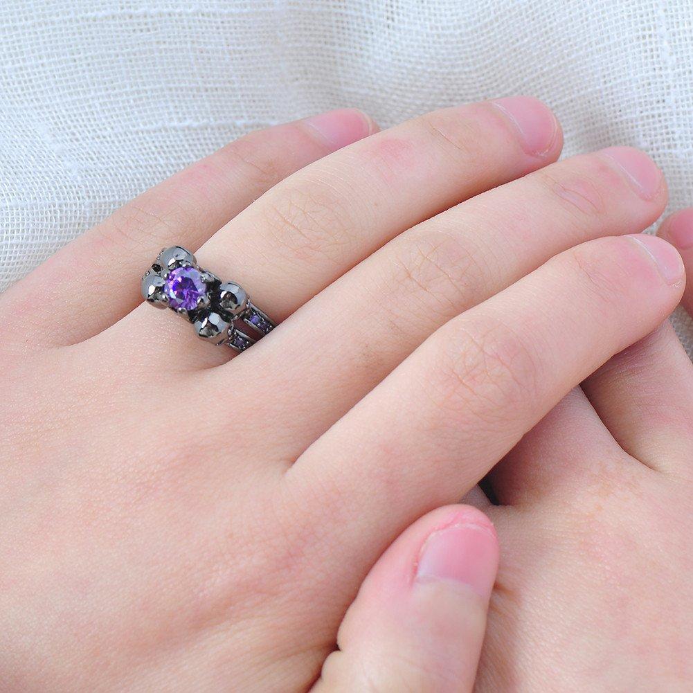Amazon.com: Bamos Jewelry Womens Lab Purple Bright Stone Skulls ...