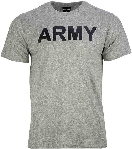 Camiseta estampado ejército gris: Amazon.es: Ropa y accesorios