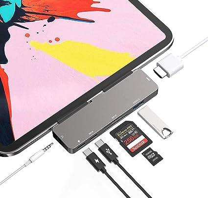 Adaptador USB C HUB para iPad Pro 11 / 12.9 2018 2020, adaptador 7 em 1 USB tipo C