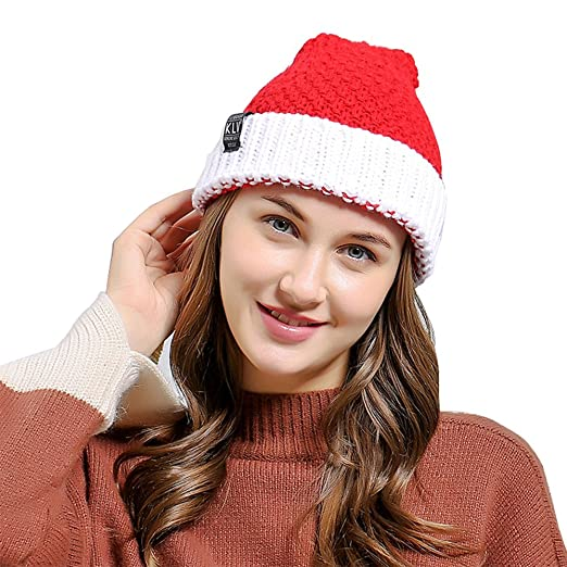 563dbfe2d64b4 Amazon.com  MiyaChic Christmas Beanie Hat Winter Warm Knitted Crochet Santa  Hat Gift  Clothing