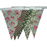 Green Vintage Floral Shabby Chic Single Sided Fabric Bunting 20ft Long