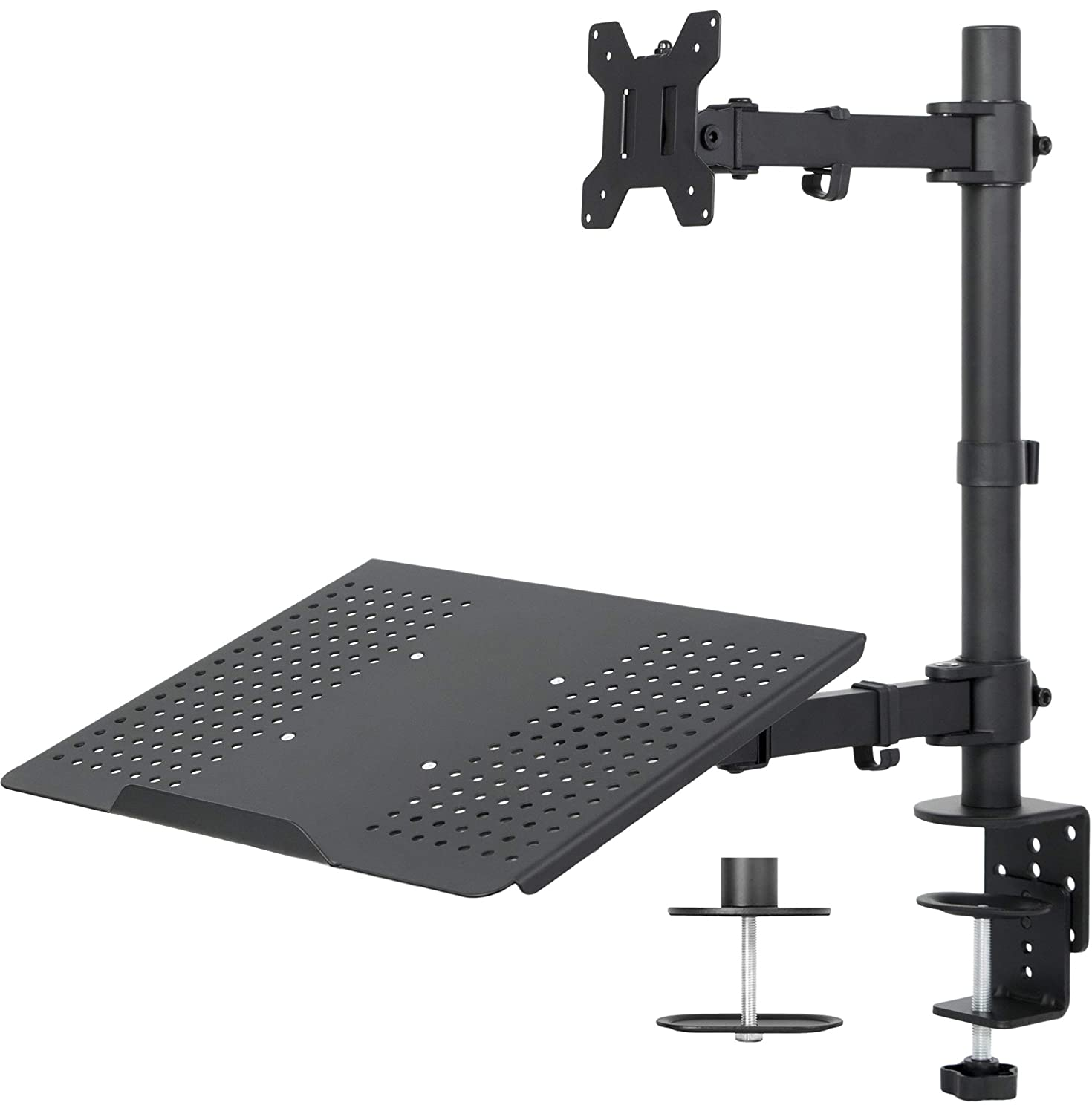 VIVO Black Fully Adjustable Single Computer Monitor and Laptop Desk Mount Combo, Stand with Grommet Option | Fits up to 24 inch Screens and up to 17 inch Laptops (STAND-V002C)