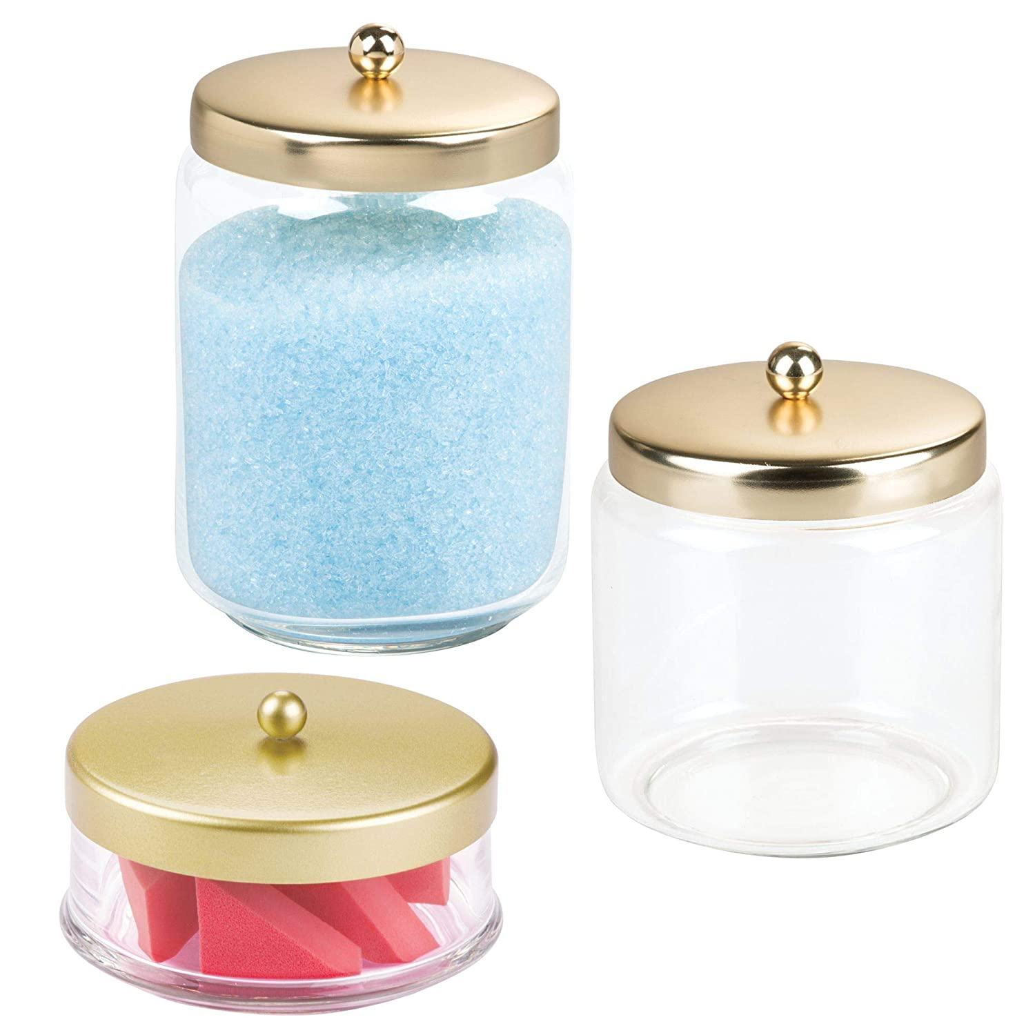 mDesign Bathroom Apothecary Storage Canisters Vanity Countertop - Set of 3, Clear/Gold/Brass MetroDecor