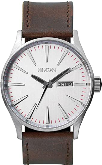 Nixon Sentry Leather -Spring 2017- Silver/Brown