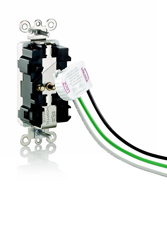 Leviton M1636-HGW Lev-Lok Modular Wiring Device 20-Amp Hospital Grade Self Grounding Straight Blade 125 Volt White Decora Plus Duplex Receptacle