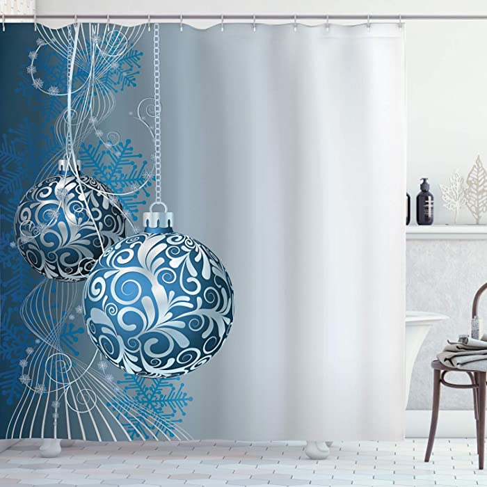 "Ambesonne Christmas Shower Curtain, Cloth Fabric Bathroom Decor Set with Hooks, Curlicues on Baubles, 70"" Long"