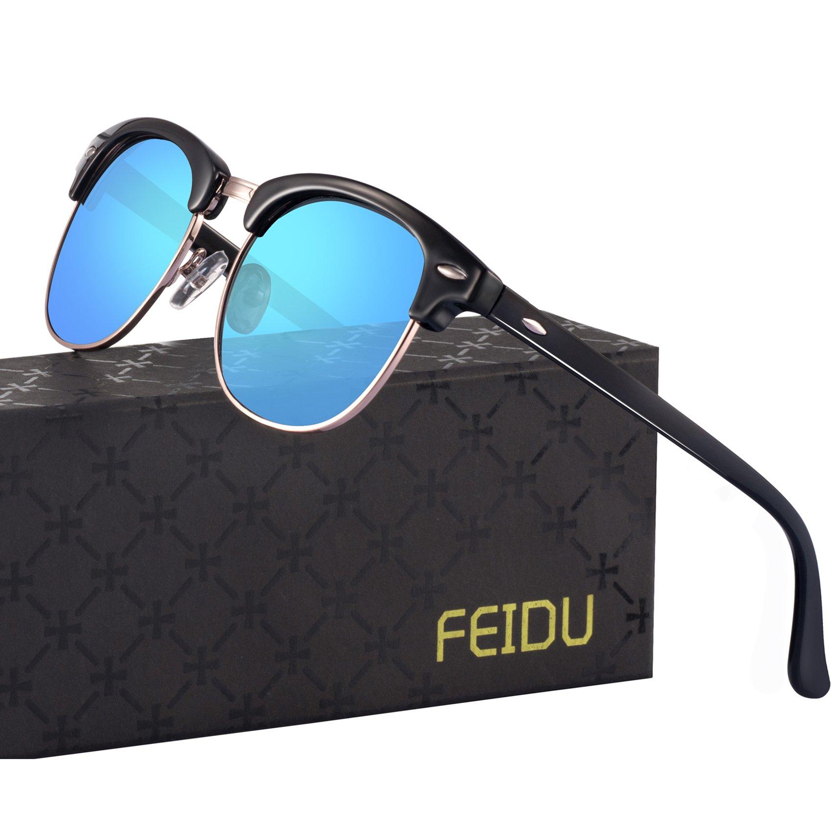 FEIDU Retro Polarized Clubmaster Sunglasses for Men Half Metal Women FD3030 (blue, 2.04)
