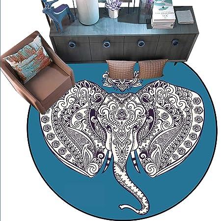 Alfombra redonda antideslizante de elefante bohemio con figura ...