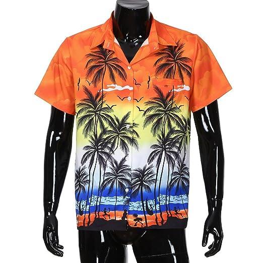 DEELIN Hombre Verano Hawaiano Playa Camisa Manga Corta Frente Bolsa Playa Floral ImpresióN Tendencia Camiseta Top Orange: Amazon.es: Ropa y accesorios