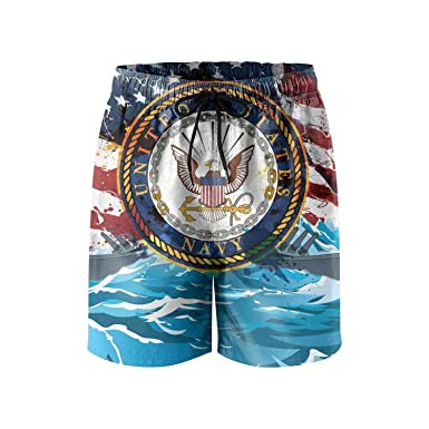 d0552938017f8 Amazon.com: RADPost us Navy Flag Mens Swim Trunks Quick Dry Board Shorts  Swimwear for Men with Pockets: Clothing