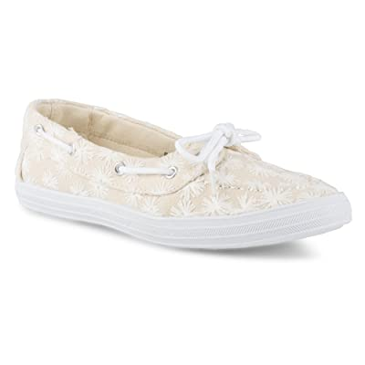 Twisted Women's Floral Embroidered Canvas Boat Shoe | Loafers & Slip-Ons
