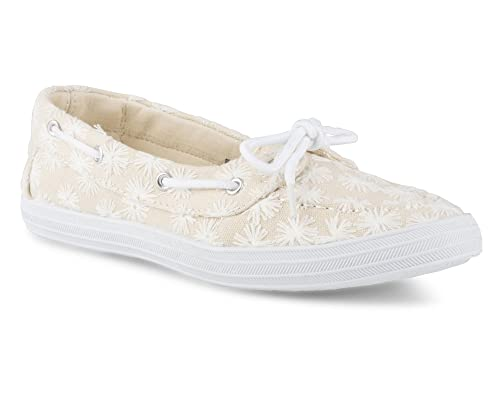 1264ff90263e58 Twisted Women s Floral Embroidered Canvas Boat Shoe - Natural
