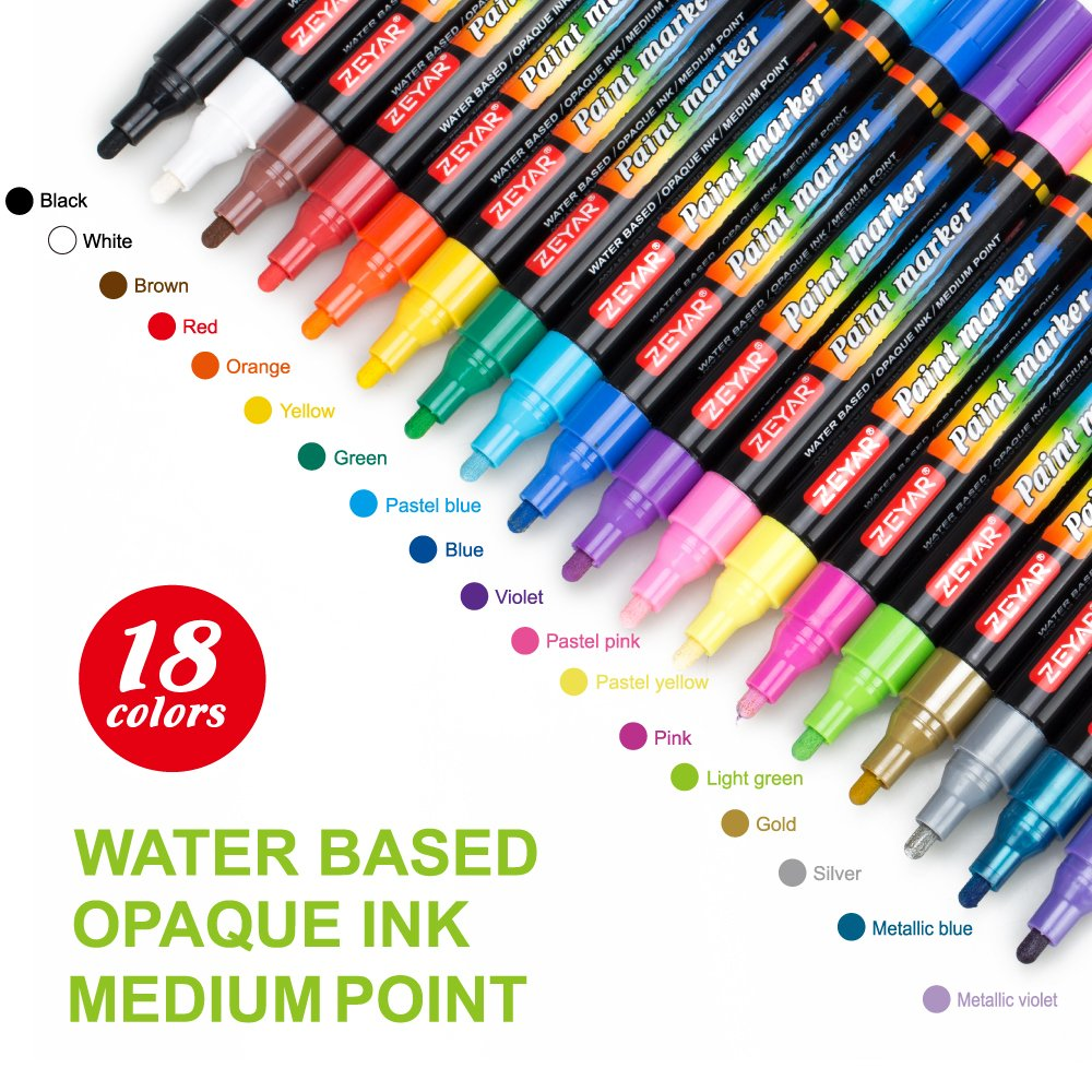ZEYAR® Acrylic Paint Pen for Rock Painting, Water based,Medium Point,Assorted colors,odorless,Acid free,Opaque ink,18 colors, Premium quality, Professional Paint Marker Manufacture by ZEYAR®