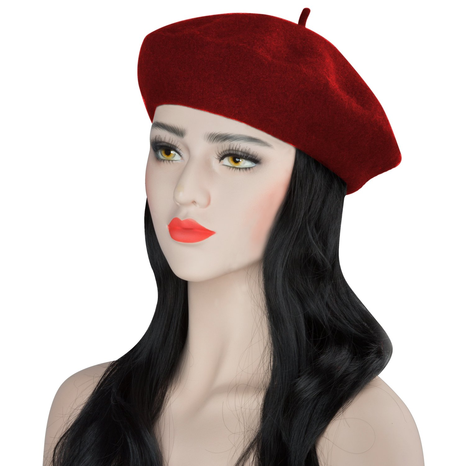Acecharming Womens French Style Beret Wool Beanie Hat Cap,Red,Thick