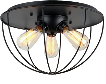 Unitary Brand Antique Black Metal Cage Shade Kitchen Island Lighting with 3 E26 Bulb Sockets 180W Painted Finish