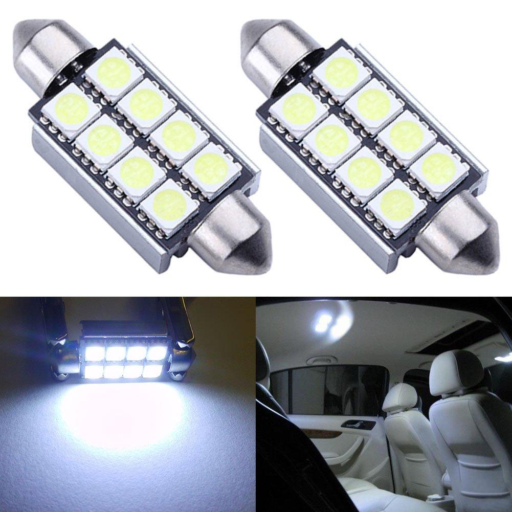 TABEN 2PCS bianco 5050 8-smd 42 mm (4, 2 cm) 12 V luce siluro Canbus senza errori lampadine LED 211 –  2 212 –  2 569 578 targa LED