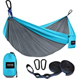 Kootek Camping Hammock Double & Single Portable Hammocks with 2 Tree Straps, Lightweight Nylon Parachute Hammocks for Backpac