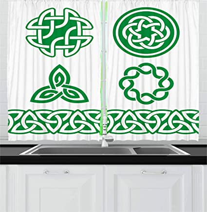 Fantastic Ambesonne Irish Kitchen Curtains Medieval Ancient Knots Symbols Braided Design Ancient Old Folkloric Gaelic Window Drapes 2 Panel Set For Kitchen Interior Design Ideas Apansoteloinfo