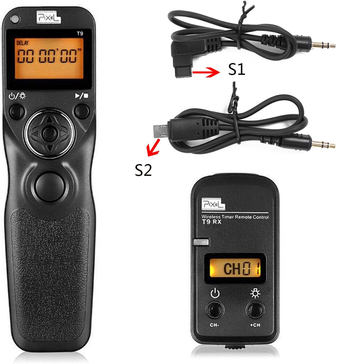 Pixel T9-S1/S2 LCD Wired/Wireless Shutter Release Remote with 2 Connecting Cables Timer Remote Control for Sony A560/A580/A390/A450/A500/A550/A850/A900/A350/A200/A58(S1/S2)