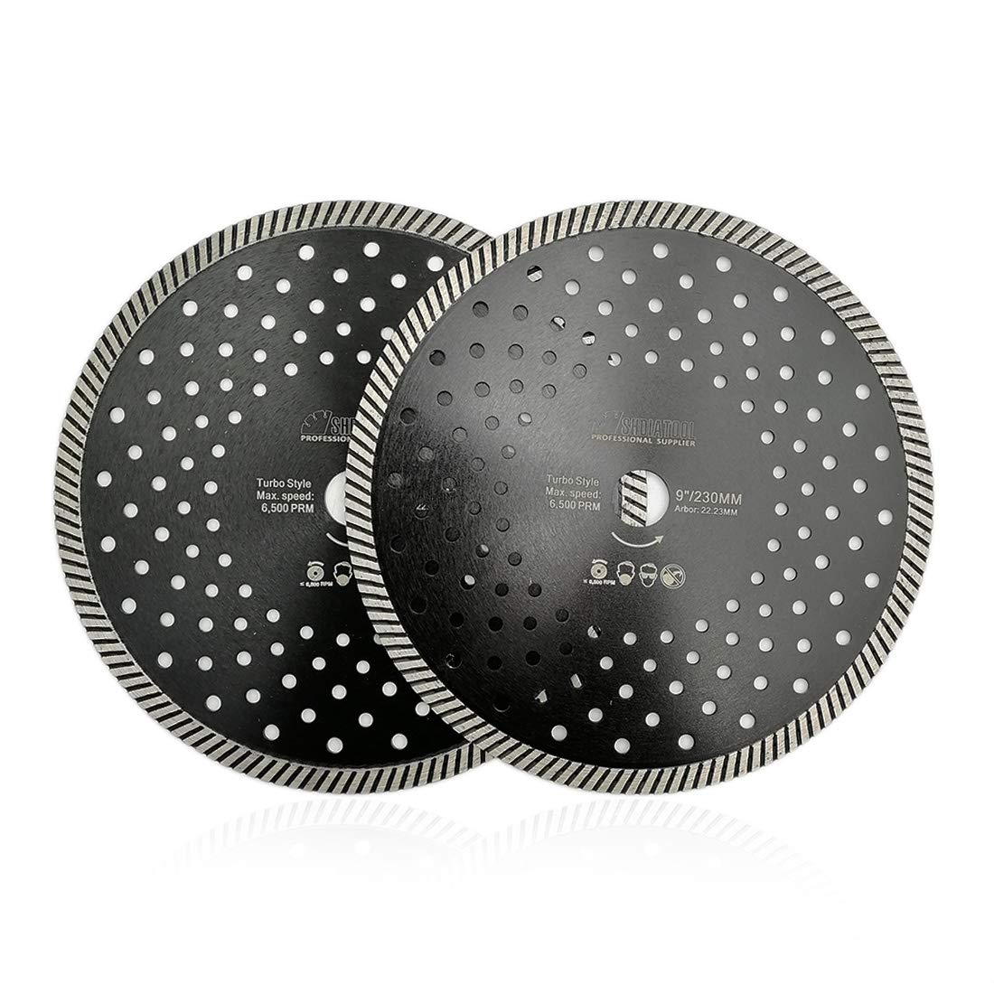 SHDIATOOL 4.5-Inch Diamond Narrow Turbo Blade with Multi Holes for Tile Granite Marble Concrete Pack of 2
