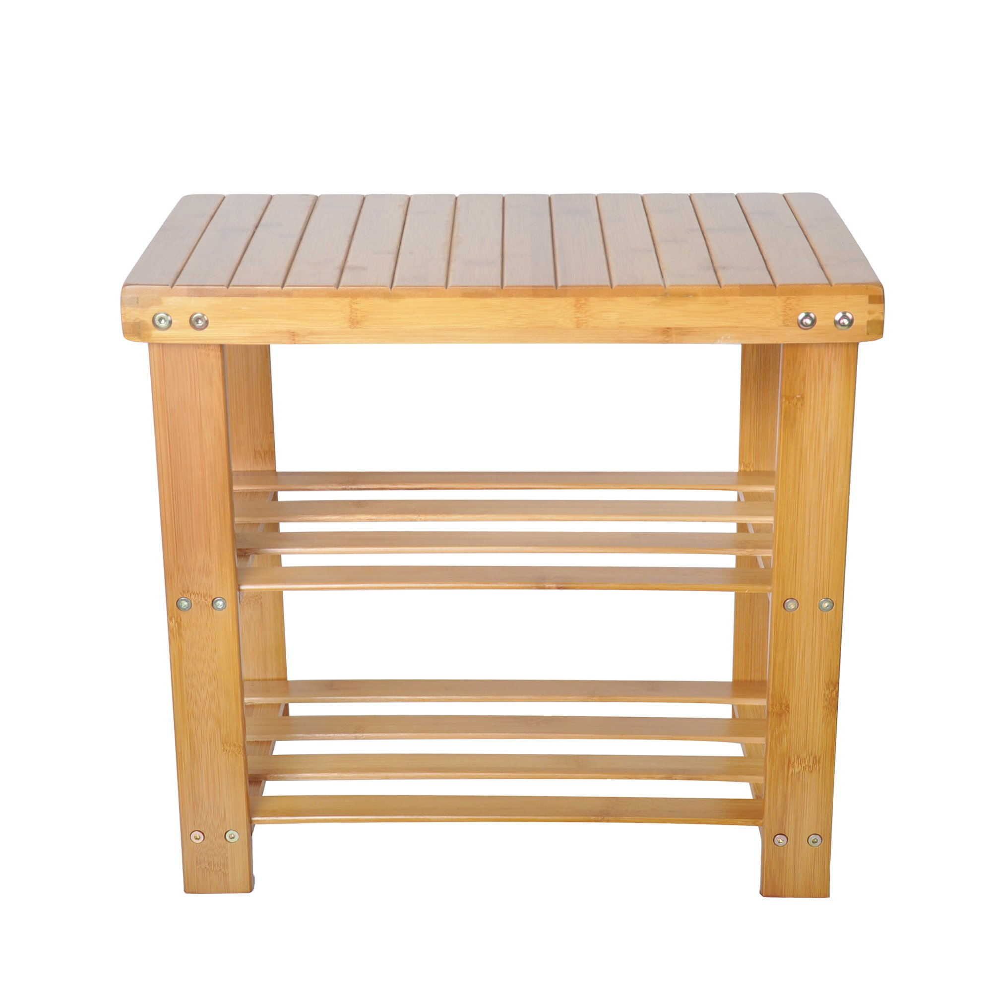 Lucky Tree 2-Tire Shoe Bench Entryway Storage Shelf Bamboo Shoes Rack