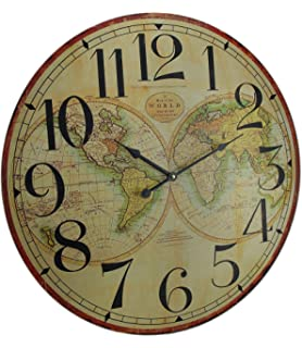 Amazon large 23 antique style colorado clock co wall clock wood wall clocks map of the world decorative wooden wall clock 23 x 23 x 1 gumiabroncs Image collections