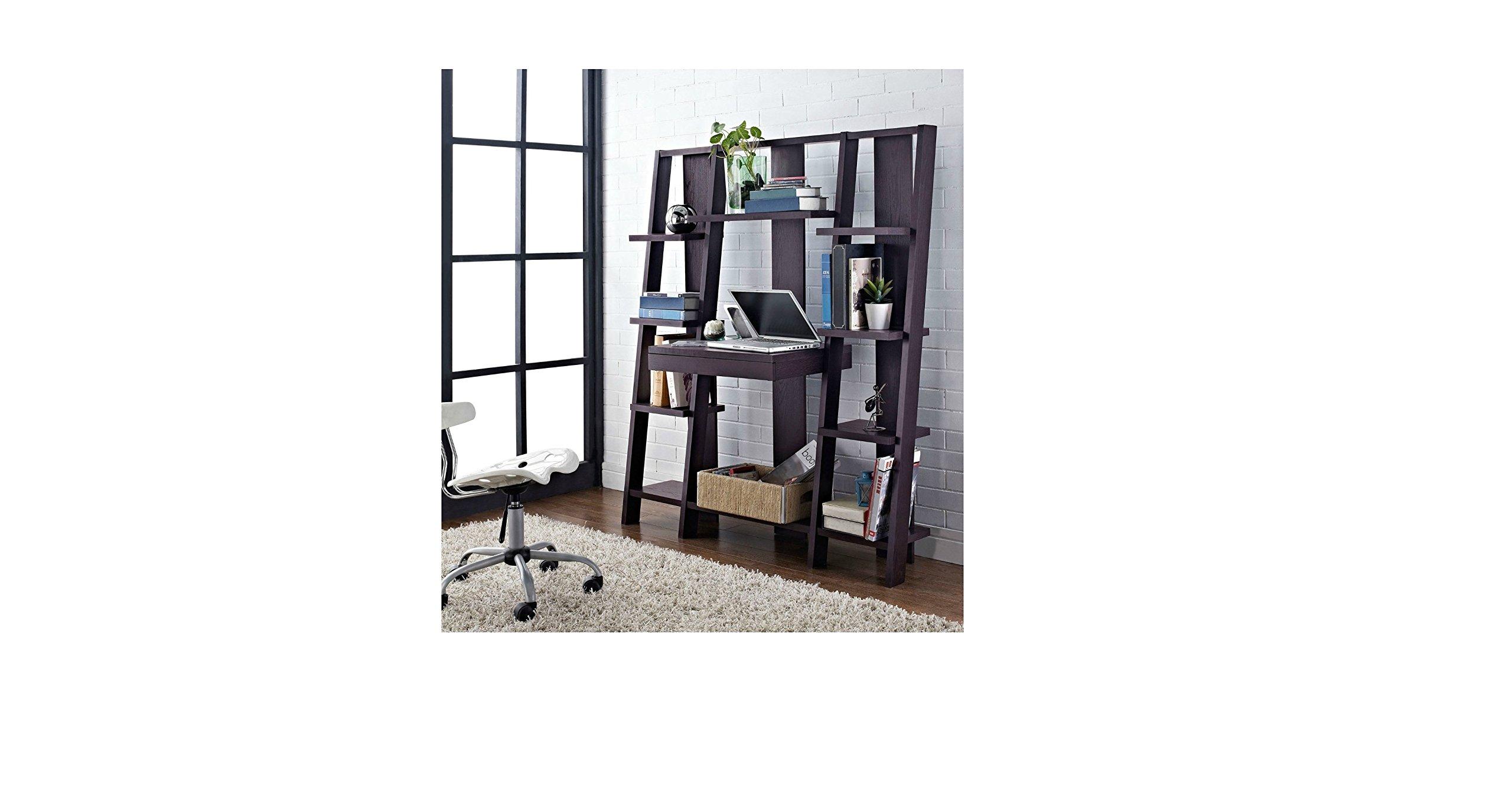 Ladder Bookcase/ Computer Desk with Modern Multiple Open Shelves (Espresso)