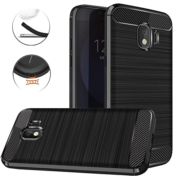 more photos d8344 67021 Galaxy J4 2018 Case, Dretal Carbon Fiber Shock Resistant Brushed Texture  Soft TPU Phone case Anti-fingerprint Flexible Full-body Protective Cover  For ...