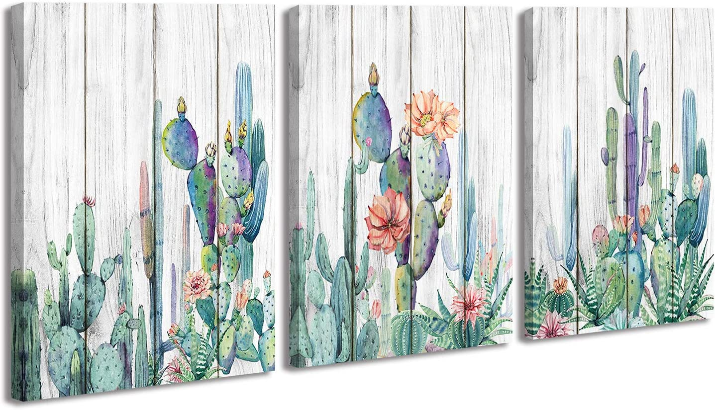 Mexico Cactus Wall Art Picture Watercolor Painting Room Decor for Bedroom Living Room Office Home Wall Decorations, Aesthetic Tropical Green Plants on Wood Background Flowers Posters Murals Canvas Prints Artwork 12