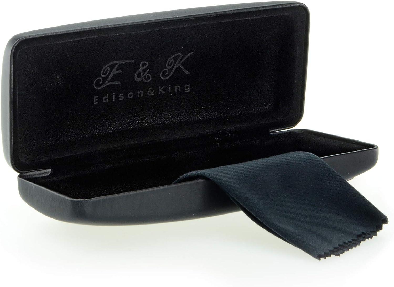Edison & King Resistente Estuche para Gafas en Muchos Colores. También apropiado como Estuche para Gafas de Sol. Incluye paño para Limpieza de Gafas Gratis