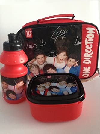 95b5e7e1d7bb Kids Girls One Direction 1D Lunch Box Set, Lunch Bag with Water Drink  Bottle - Pink & Black/Red