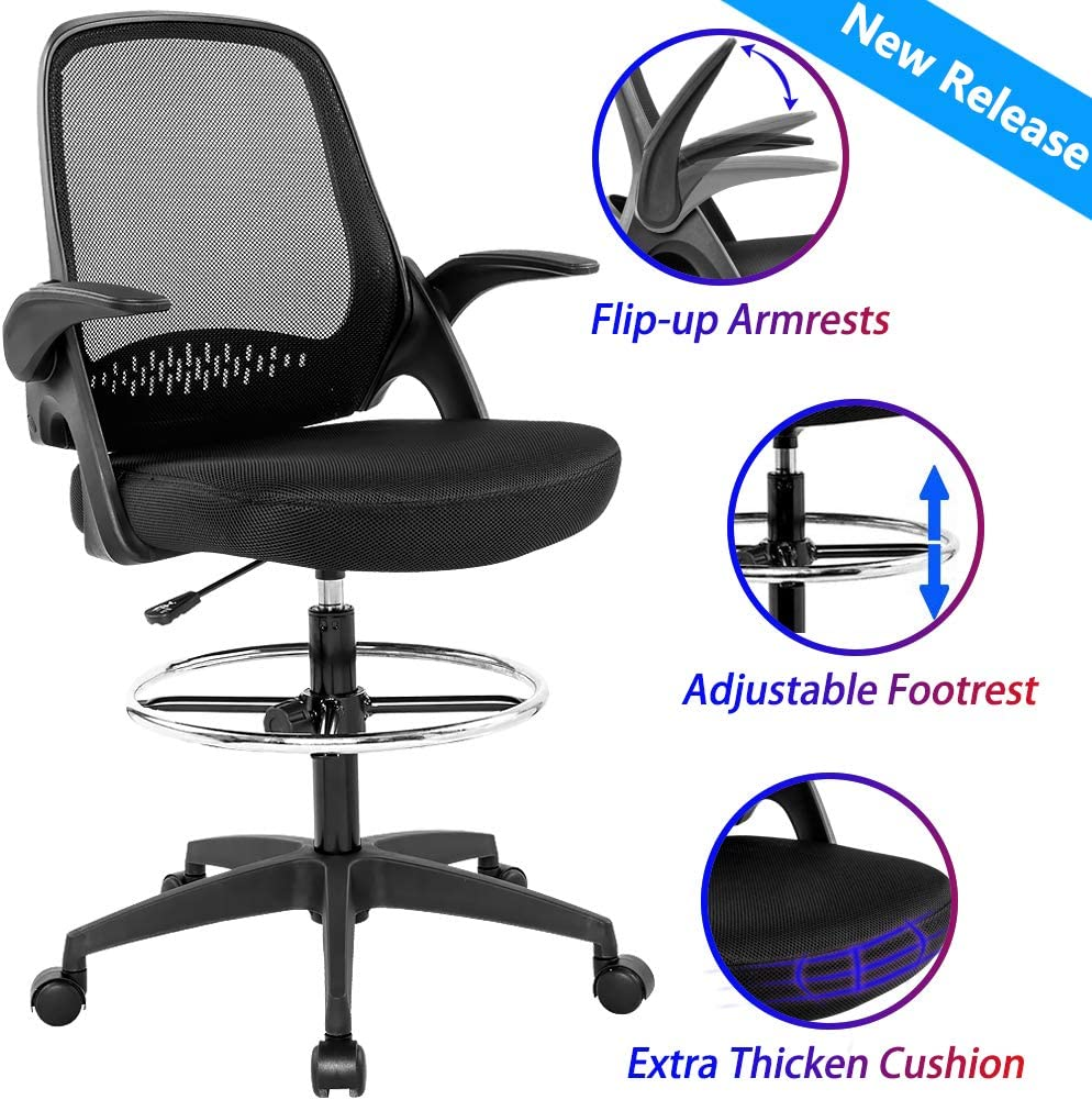 Ergonomic Mid Back Drafting Chair Mesh Computer Desk Tall Office Chair with Lumbar Support & Foot Ring Height Adjustable Rolling Swivel Drafting Stool Task Work Executive Chair for Standing Desk