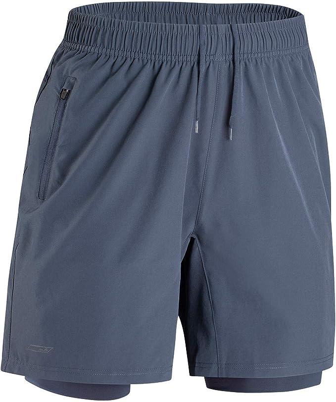 Herren 2 in 1 Sport Shorts Schnell Trocknend Sporthose Kurze Hosen mit Rei/ßverschlusstaschen