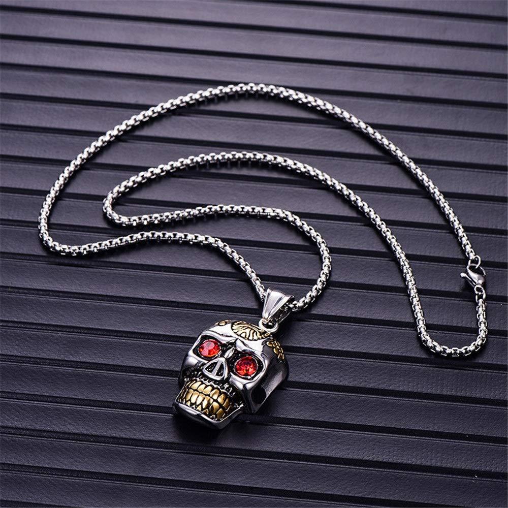DLYHSW Mens Necklace Titanium Steel Plated Cranio Head Mens Necklace Punk Stainless Steel Cast Pendant Necklace Color : Silver
