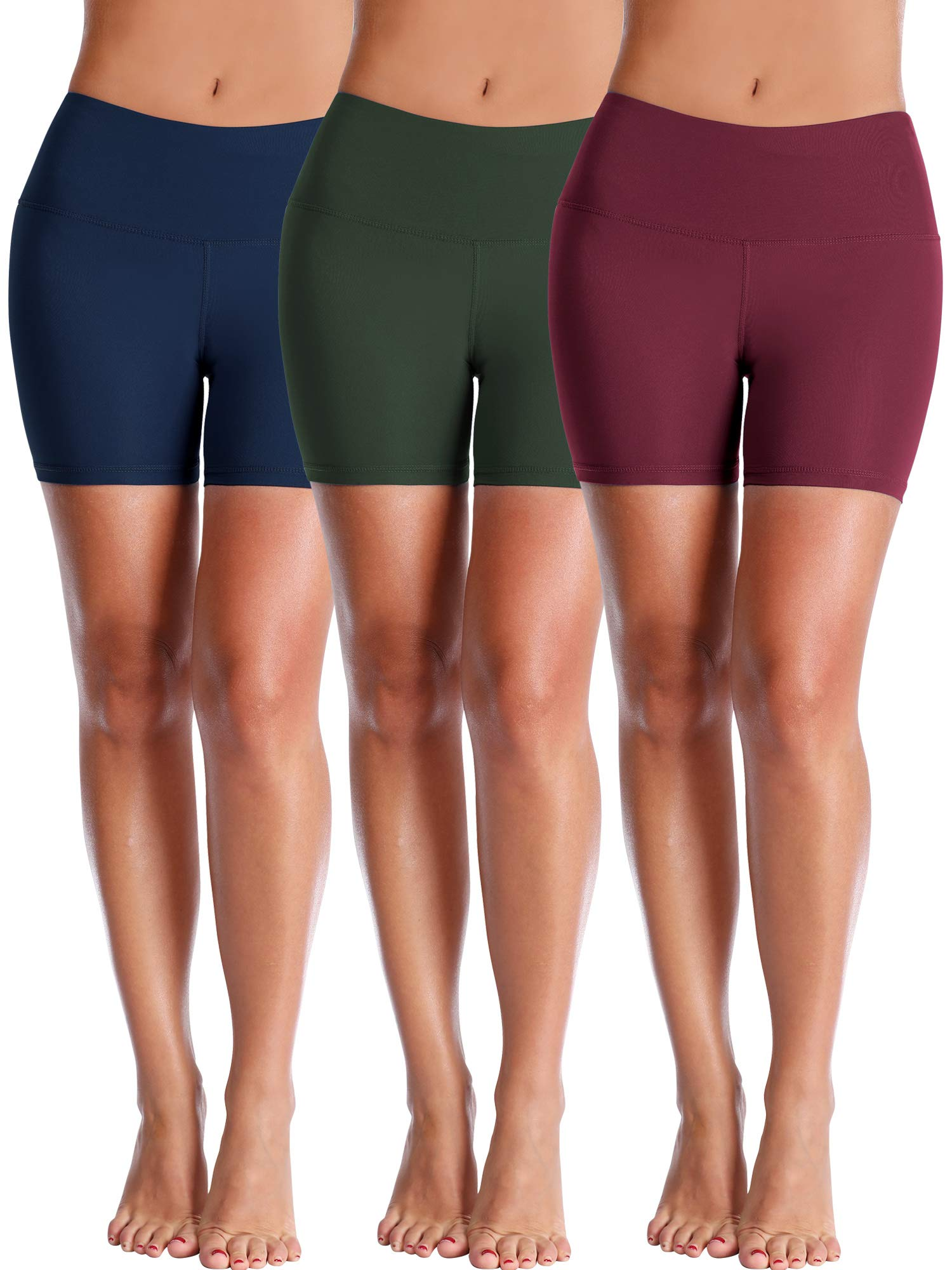 Cadmus Women's High Waisted Compression Shorts,3 Pack,1025,Navy Blue,Dark Green,Wine Red,X-Small by Cadmus