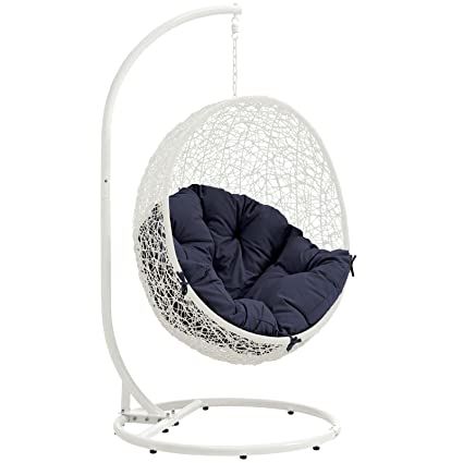 Awe Inspiring Modway Eei 2273 Whi Nav Hide Wicker Rattan Outdoor Patio Balcony Porch Lounge Egg Swing Chair Set With Stand White Navy Theyellowbook Wood Chair Design Ideas Theyellowbookinfo