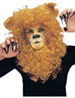 Lion Mane Masquerade Wig Curly Ginger Facial Hair King Costume Accessory Curls