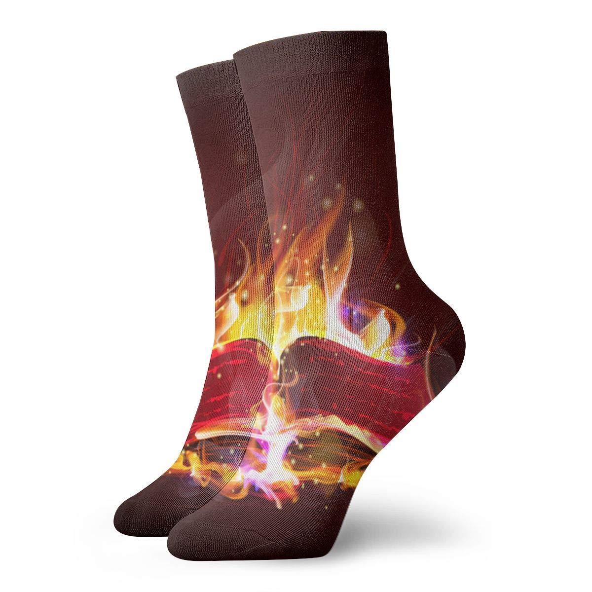 WEEDKEYCAT Originality Blaze Book Adult Short Socks Cotton Funny Socks for Mens Womens Yoga Hiking Cycling Running Soccer Sports