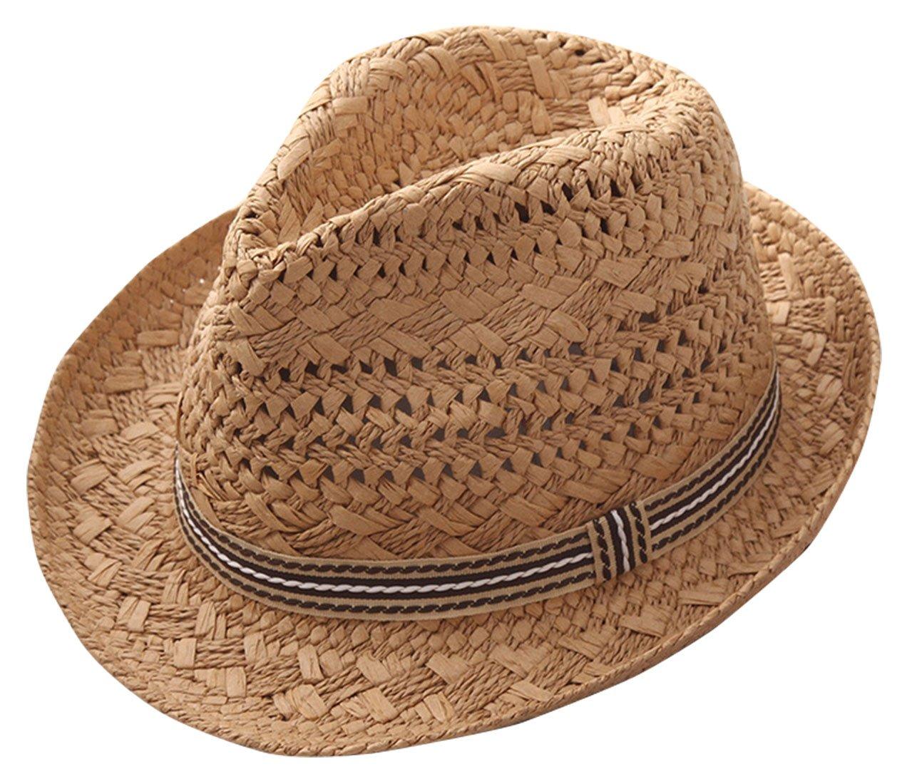 Girls Fedora Hat Soft Straw Sun Protection Classic Unisex Kids Trilby Cap Khaki