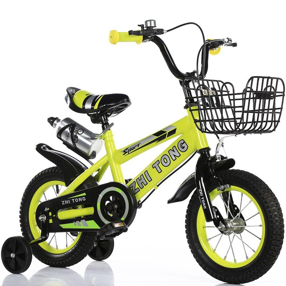 CHS@ キッズバイク子供用自転車2-3-5-6-8歳ボーイズの女の子ベビーキャリッジ12/14/16/18インチトレーニングのホイールとケトル 子ども用自転車 (色 : イエロー いえろ゜, サイズ さいず : 12