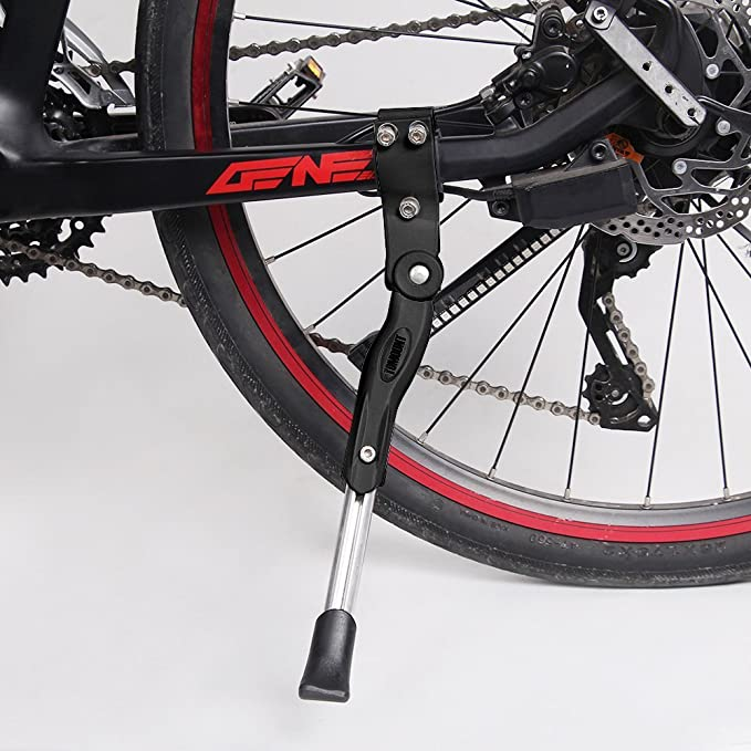 TOMOUNT Lado Soporte Plegable Bicicleta Soporte 36 cm de Longitud Ajustable - Caballete Trasero Universal Bicicleta Soporte Alumi niun Goma Mode para MTB, ...