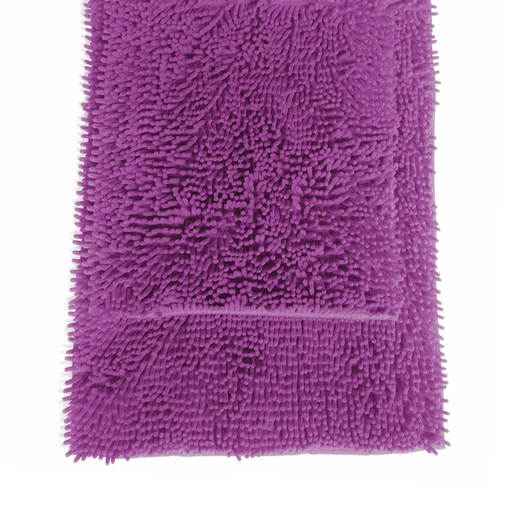 "2 Pc Purple High Pile Microfiber Bath Mat Rug Set 20""x 32"" and 17""x 24"""