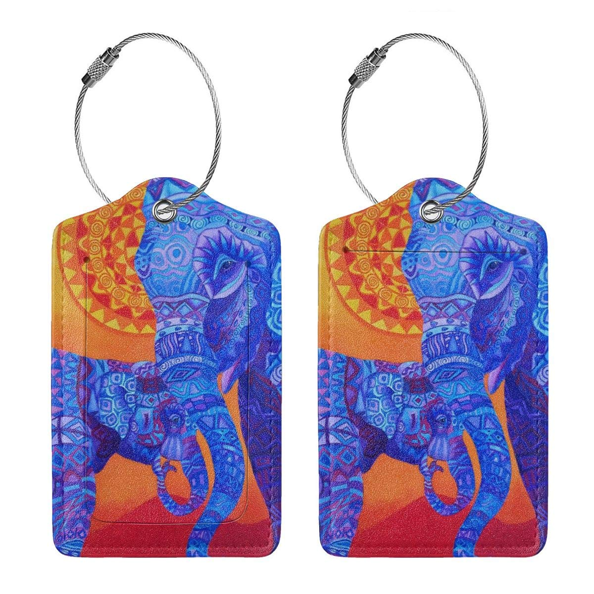 Godzigod Luggage Tags PU Leather Suitcase Card Tag with Stainless Steel Loop Travel Baggage Handbag Tag Labels Travel Accessories Psychedelic Indian Elephant Mandala
