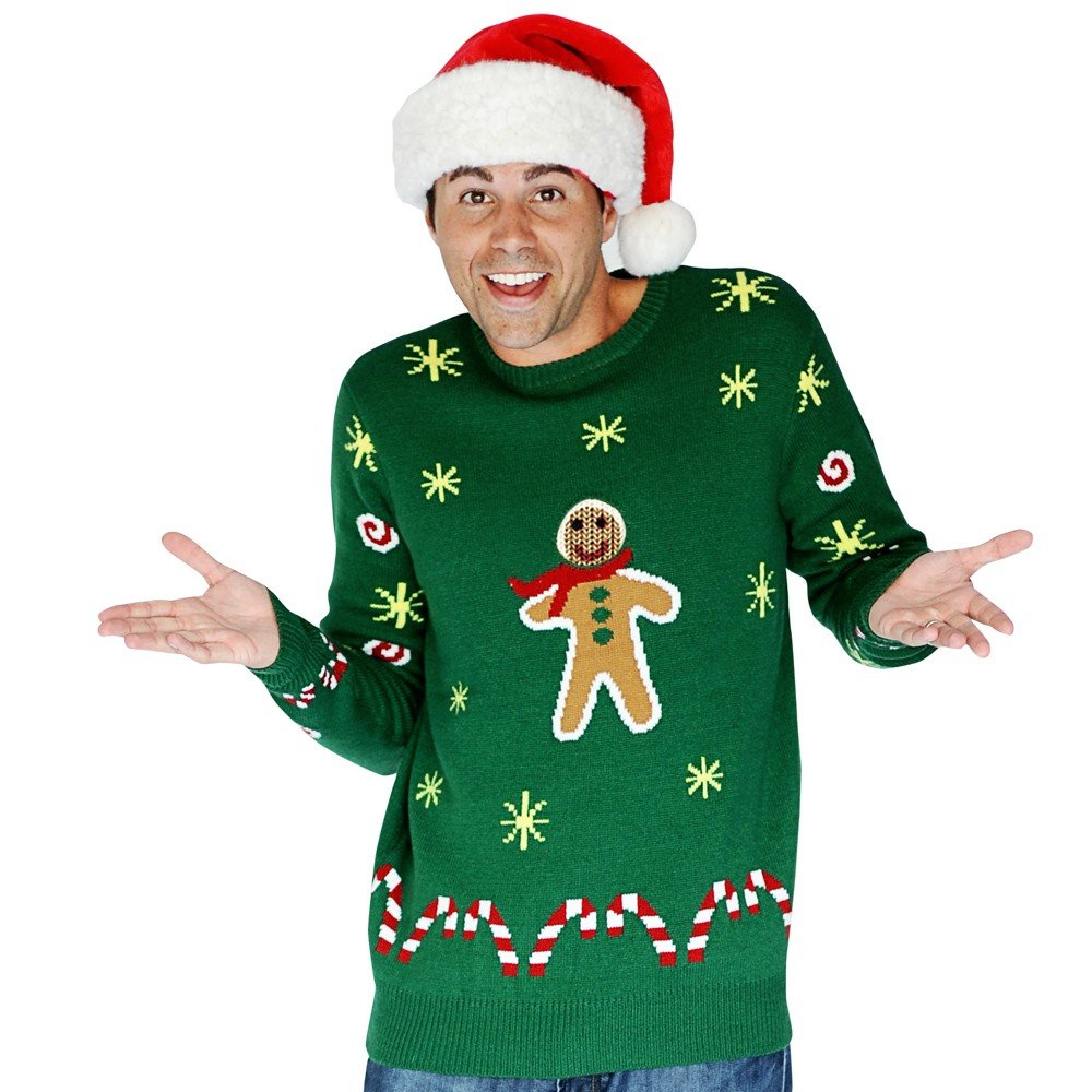 Digital Dudz Gingerbread Snack Digital Christmas Sweater - size Xlarge