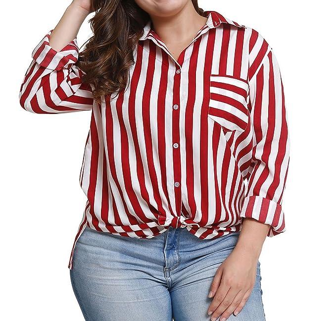 Primavera y Otoño Nuevo Mujeres Talla Grande Blusa Moda Solapa Camisetas de Manga Larga Shirts Tops Casual Suelto Rayas Blouses tee Camisas: Amazon.es: Ropa ...