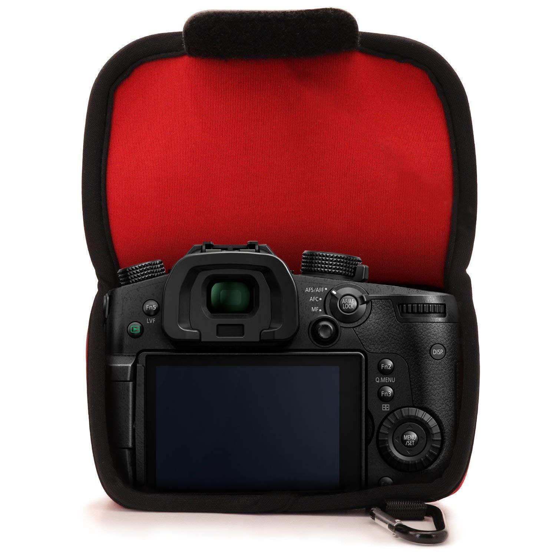 MegaGear MG1371 Ultra Light Neoprene Camera Case compatible with Panasonic Lumix DC-GH5 14-140 mm Black
