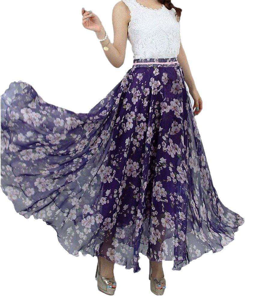 Afibi Women Full/Ankle Length Blending Maxi Chiffon Long Skirt Beach Skirt (XX-Large, Design T)
