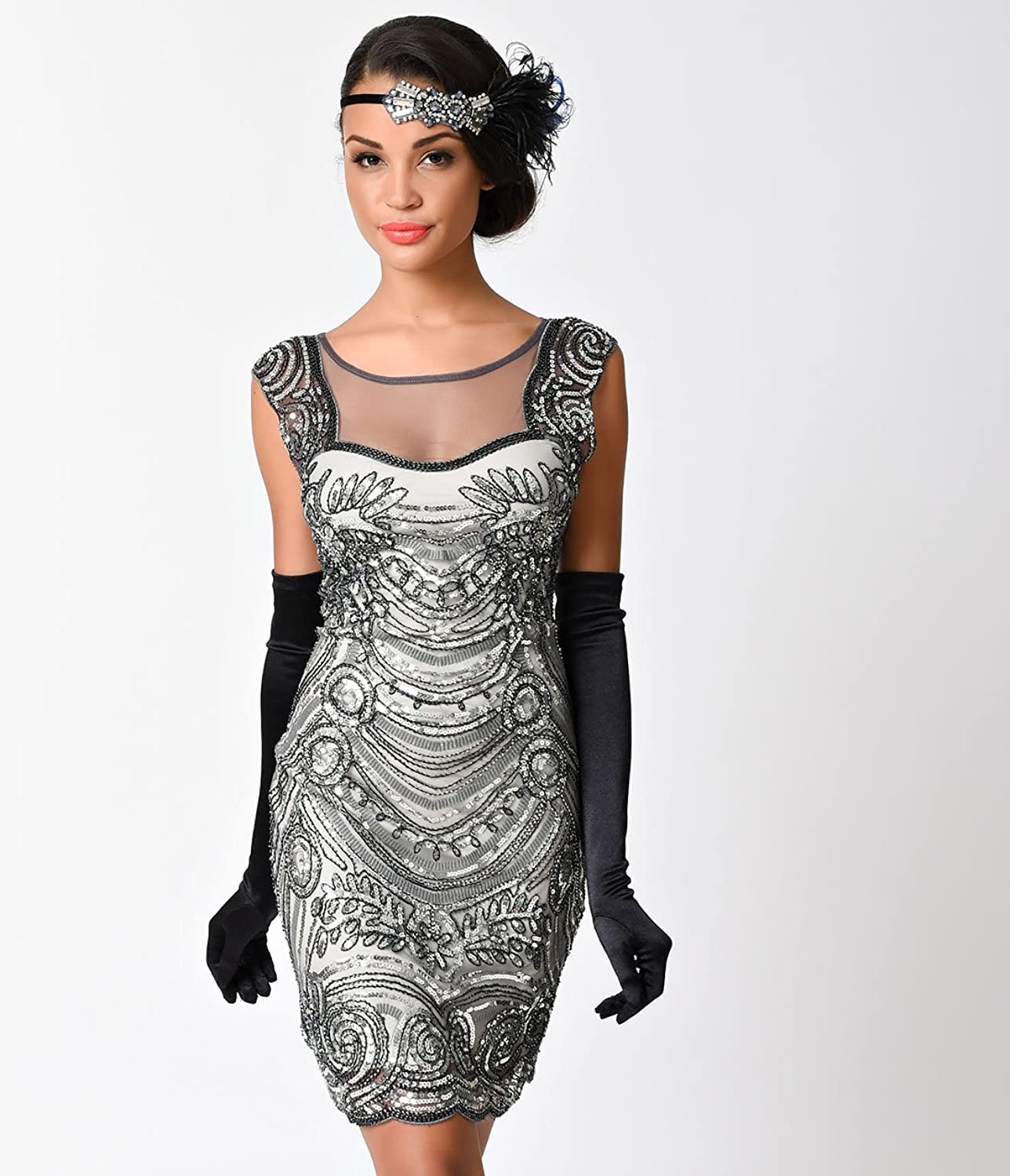 Amazon.com: 1920s Style Grey Beaded Deco Illusion Short Flapper Dress For Homecoming 2017: Clothing
